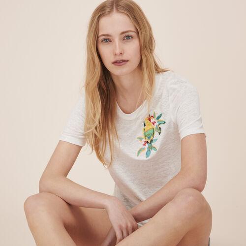 T-shirt in lino con ricami - Tops - MAJE