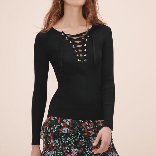 Pullover in maglia rigida con lacci - Maglieria - MAJE