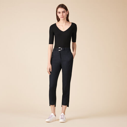Pantaloni da tailleur gessati - Pantaloni - MAJE