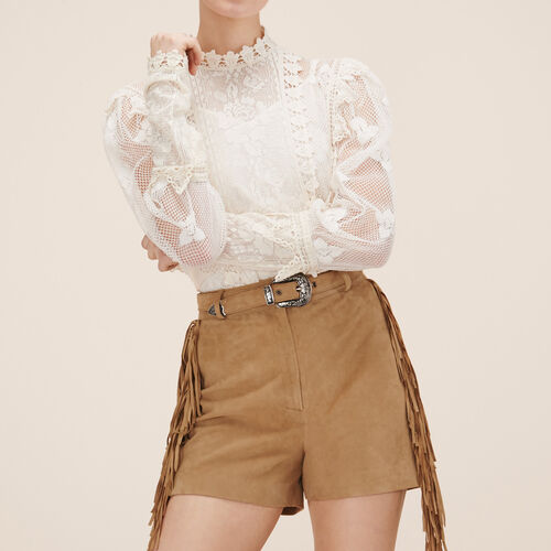 Short in pelle scamosciata - Gonne e shorts - MAJE