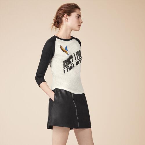 T-shirt in lino ricamata - Tops - MAJE