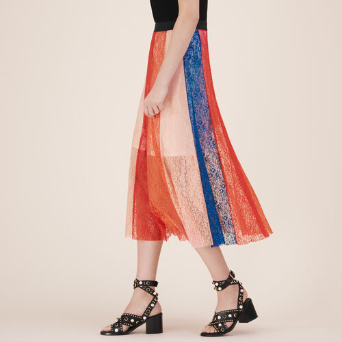Gonna lunga con fasce in pizzo - Gonne e shorts - MAJE