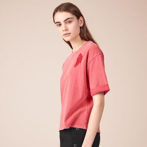 T-shirt in cotone con ricamo - T-shirt - MAJE