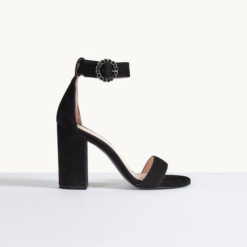 Sandali con tacco in pelle scamosciata - Scarpe - MAJE