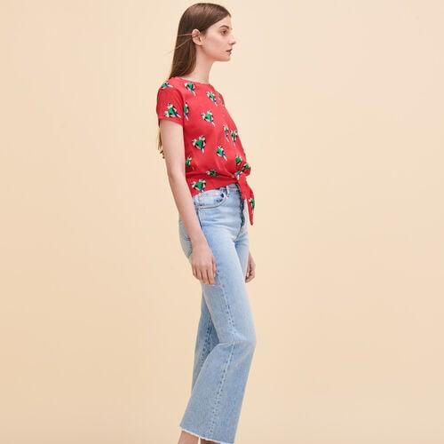 T-shirt con stampa pappagalli - Tops - MAJE