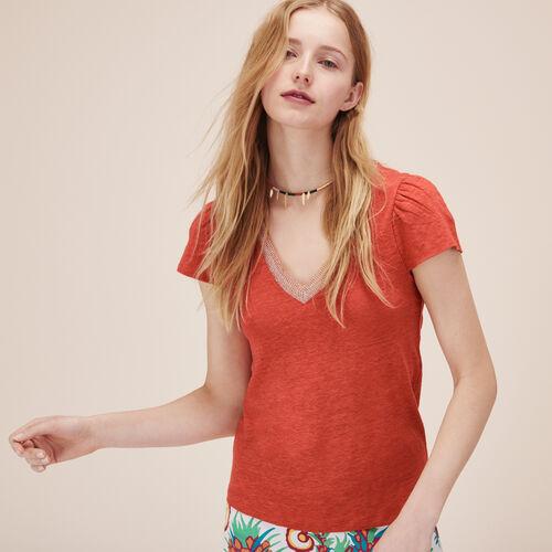 T-shirt in lino con maniche arricciate - Top e Camicie - MAJE