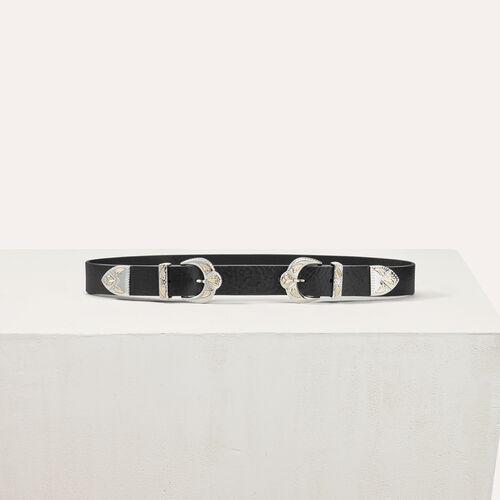 Cintura in pelle con doppia fibbia - Cinture - MAJE
