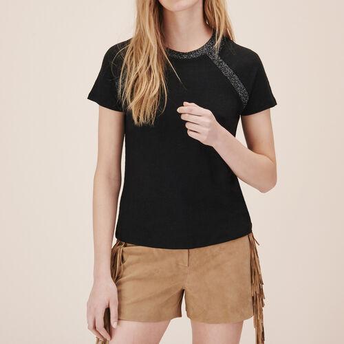 T-shirt in lino con dettaglio in lurex - Tops - MAJE