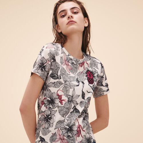 T-shirt stampata con stemma - Tops - MAJE