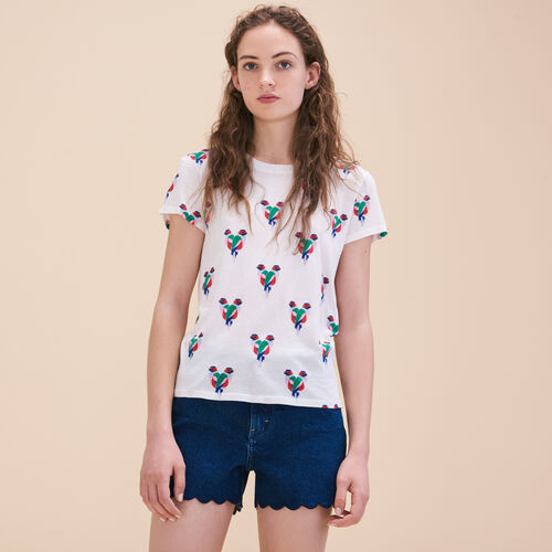T-shirt con stampa pappagalli - Tops - MAJE