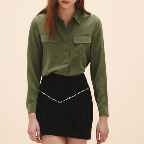 Gonna a frange in scamosciato - Gonne e shorts - MAJE