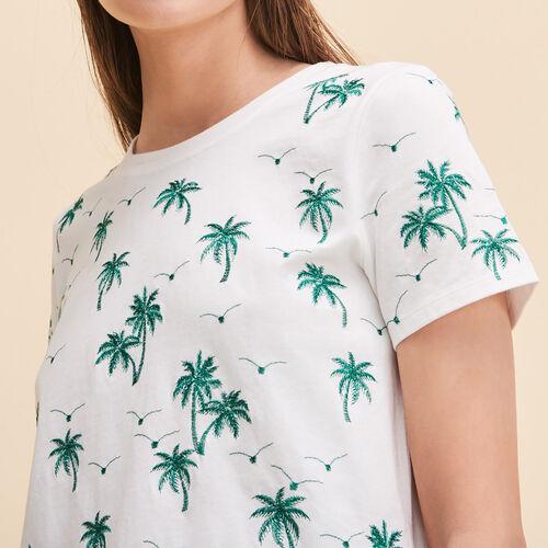 T-shirt con palme ricamate - Tops - MAJE