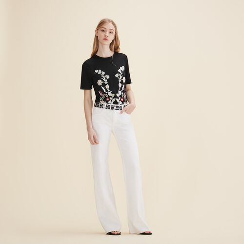T-shirt con ricamo - Tops - MAJE