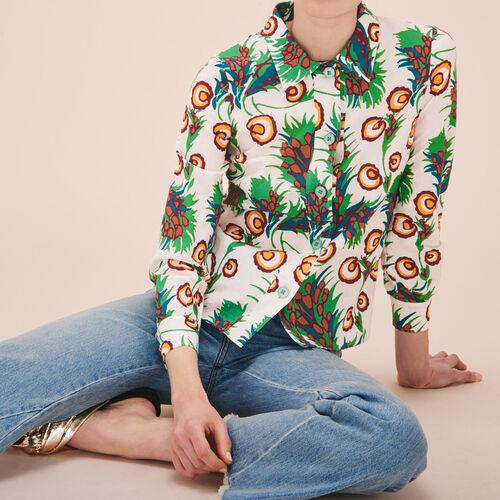 Camicia stampata in lino e seta - Tops - MAJE