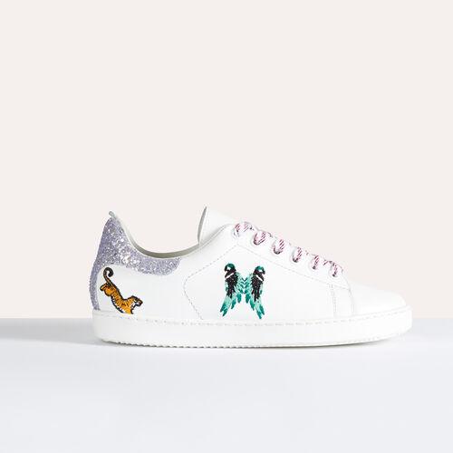 Sneaker in pelle con ricami - Scarpe - MAJE