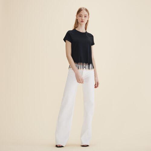T-shirt con frange perlate - Tops - MAJE
