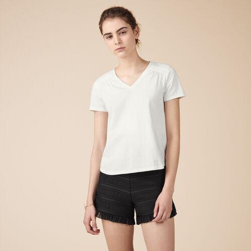 T-shirt in cotone con dettagli - Tops - MAJE