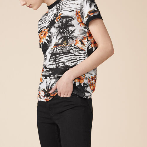 T-shirt in lino con stampa - Tops - MAJE