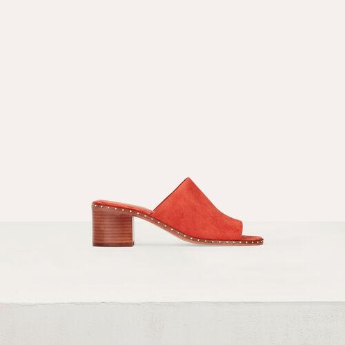 Mules con tacco in suede : Scarpe colore Terracotta