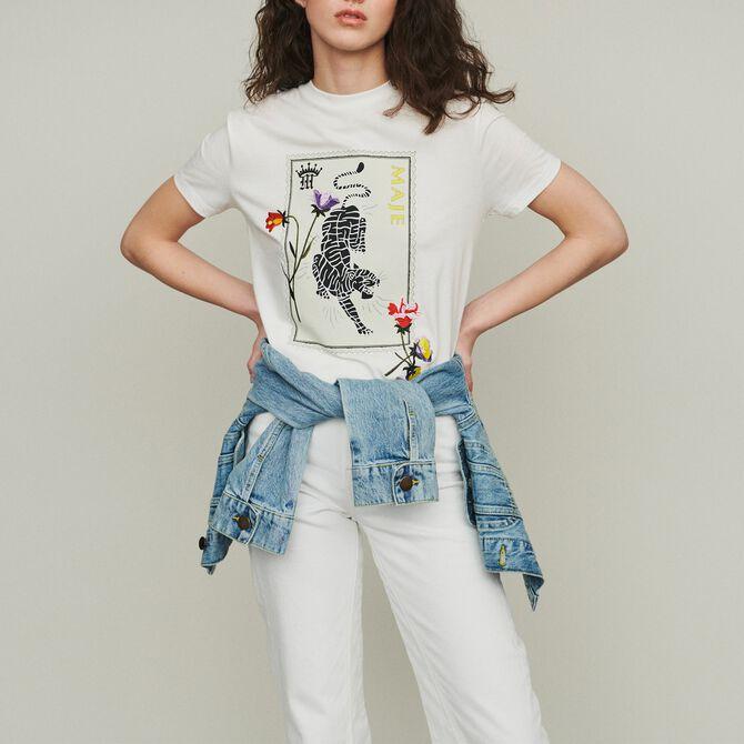 Tee-shirt stampata con ricami - Seventies - MAJE