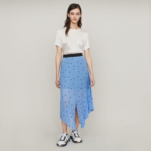 Gonna lunga plissettata con ricami : Gonne e shorts colore NERO
