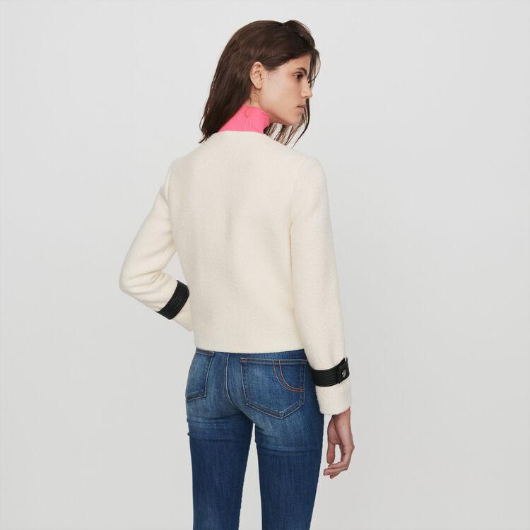 Giacca zippata stile tweed a contrasto : Giacche colore Ecru
