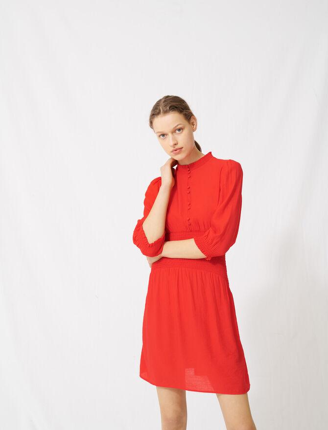 Abito rosso di media lunghezza con smock - Vestiti - MAJE