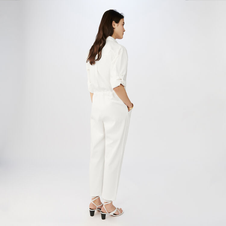 Jumpsuit with long sleeves : Jeans colore ECRU