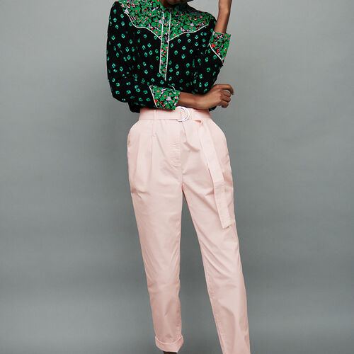 Pantaloni a carota con cintura : Pantaloni & jeans colore Rosa Tenue