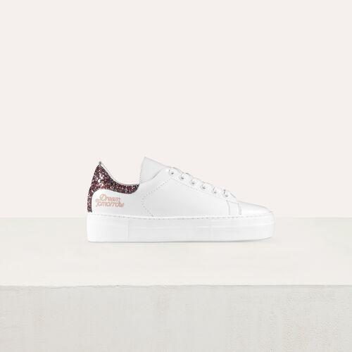 Sneakers in pelle con paillette : Scarpe colore Bianco