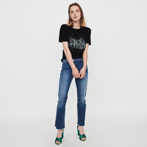 Tee-shirt serigrafata con strass : Collezione Inverno colore Nero