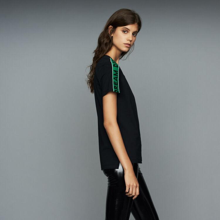 Tee-shirt loose con nastri stile galon : T-Shirts colore Nero