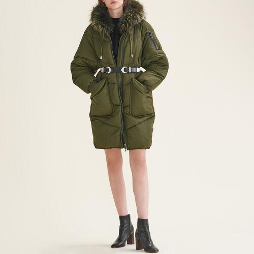Piumino lungo con pelliccia : Cappotti colore Kaki