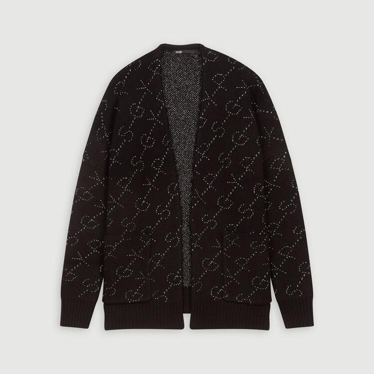Cardigan in jacquard Lurex : Pullover e cardigan colore Nero