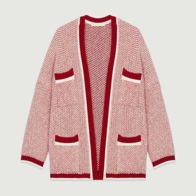 Cardigan medio lungo in maglia bicolore : Maglieria colore Rosso