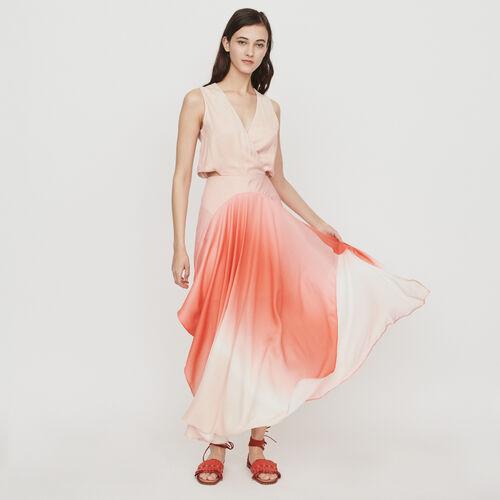 Vestito lungo Tie & Dye in tessuto : Vestiti colore Corallo
