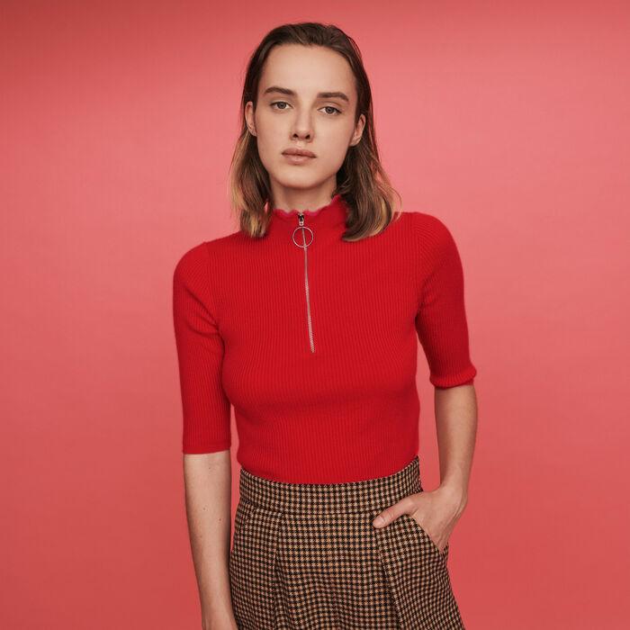 Pull fine con collo montante zippato : Pullover e cardigan colore Rosso