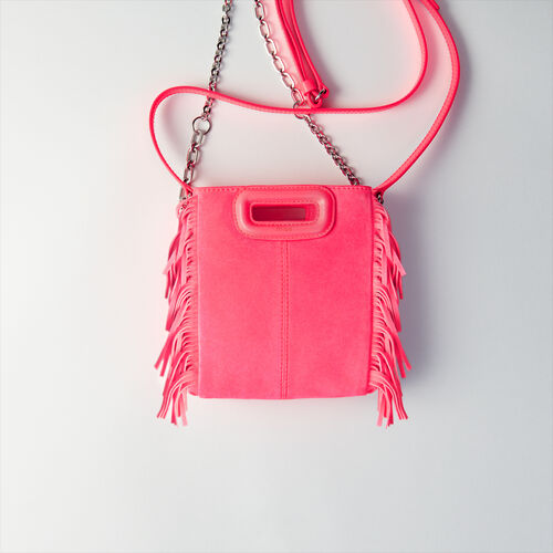 Quilted velvet crossbody bag : M Mini colore Rosa Fluorescente