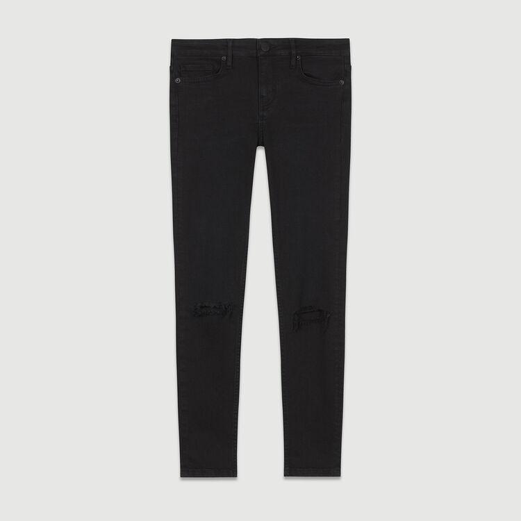 Jeans slim 7/8 con ricami : Jeans colore Nero