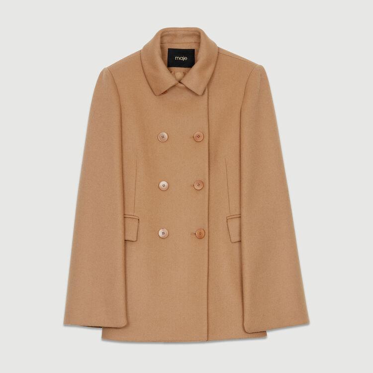 Cappotto cappa in lana vergine : Cappotti colore Cammello
