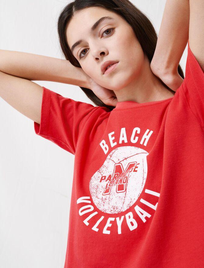 T-shirt rossa corta e serigrafata - T-Shirts - MAJE