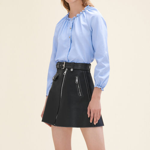Top camicia in cotone con punti smock : Tops colore Blu