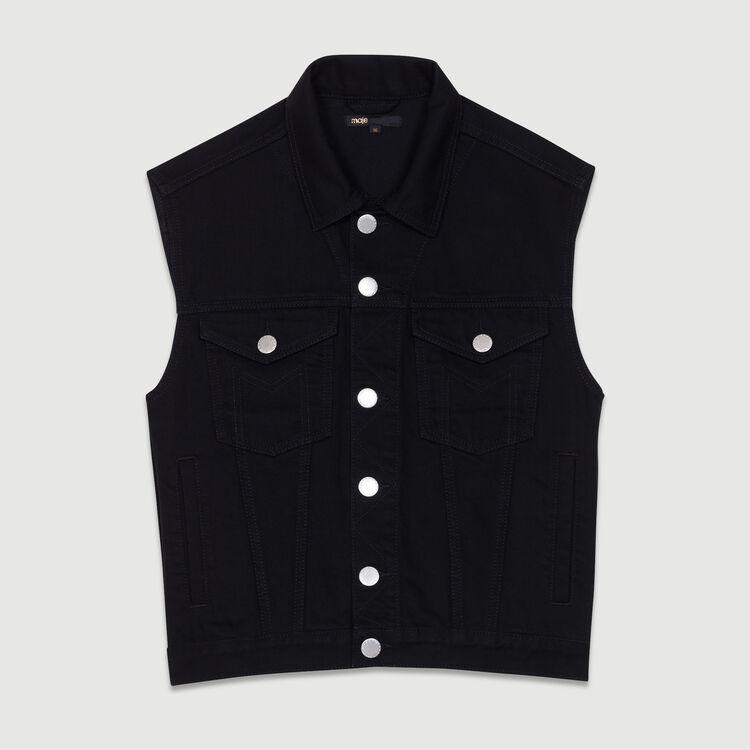 Giacca di jeans senza maniche : Giubbotti colore Nero
