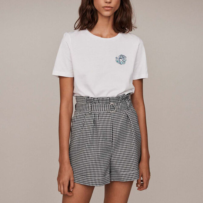 Tee-shirt in cotone con ricami e strass -  - MAJE