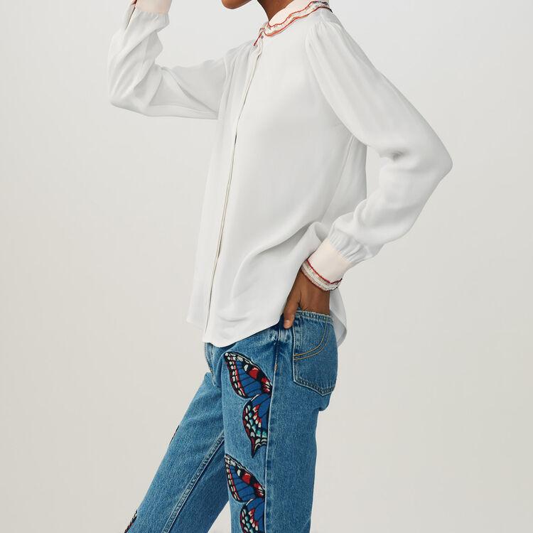 Camicetta con perle : Camicie colore Ecru