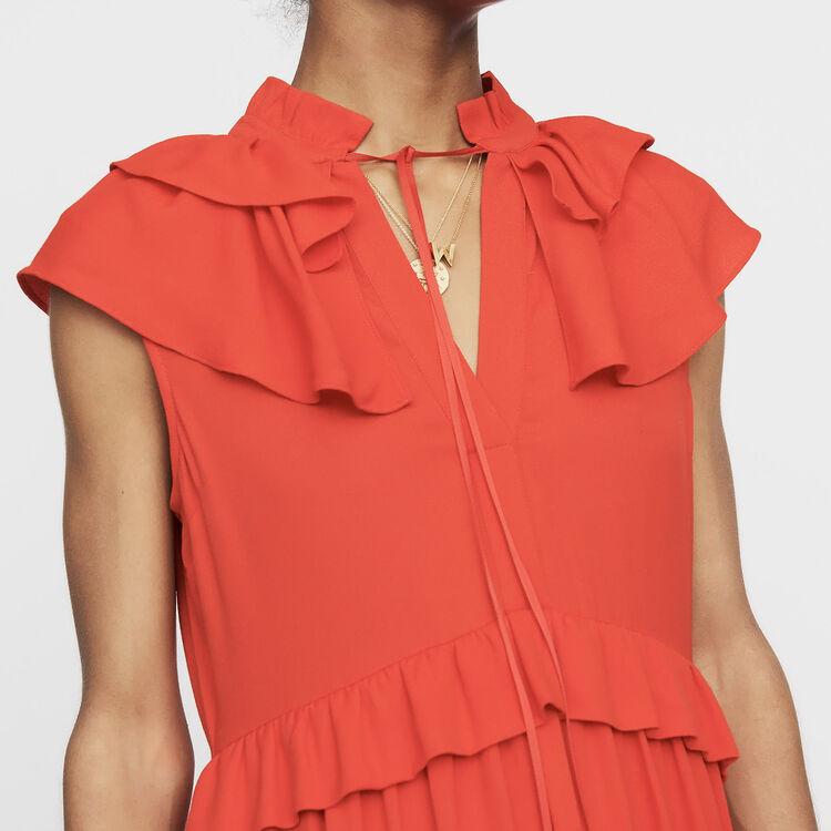 Vestito senza maniche in crêpe : Nuova Collezione colore ROUGE