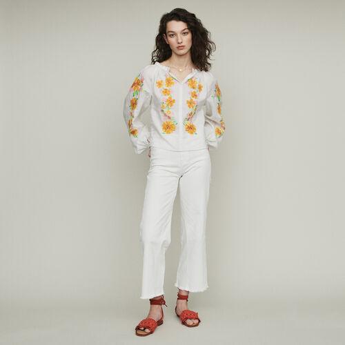 Blusa in lino con ricami : Tops e Camicie colore Bianco