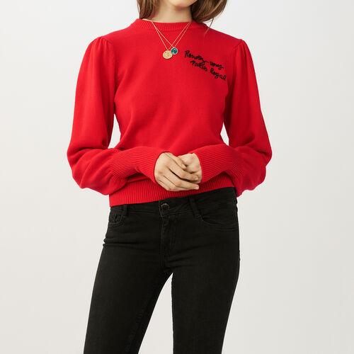Pull in maglia con ricami : Pullover e cardigan colore ROUGE