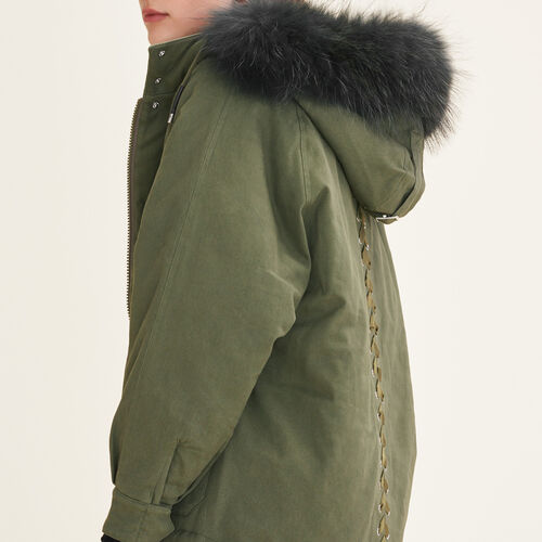 Parka con cappuccio in pelliccia : Cappotti colore Kaki