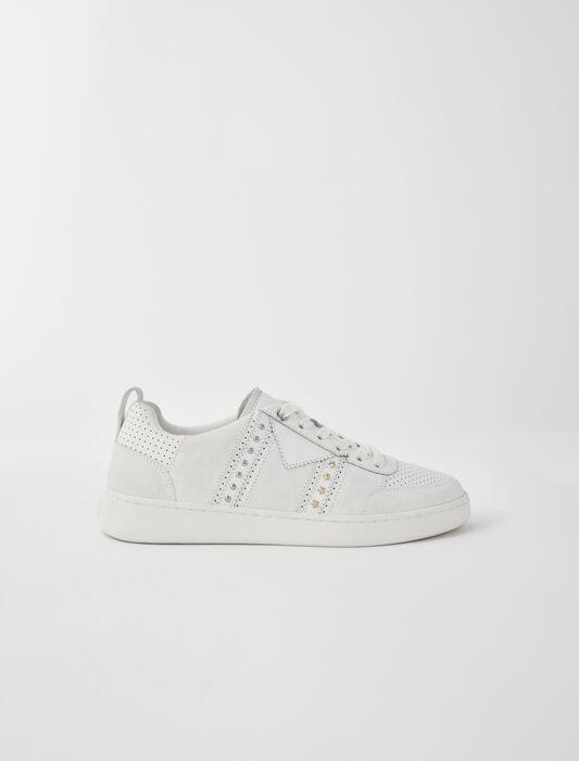 Sneaker bianche in pelle con borchie : Sneakers colore Bianco